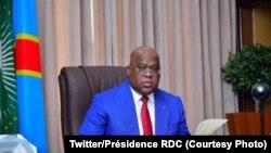 Le président congolais Félix Tshisekedi dans son bureau à Kinshasa, 22 octobre 2020. (Twitter/Présidence RDC)