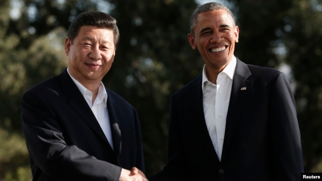 U.S. President Barack Obama meets Chinese President Xi Jinping at The Annenberg Retreat at Sunnylands in Rancho Mirage, California, June 7, 2013.