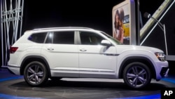 The Volkswagen Atlas SUV is put on display at the North American International Auto Show, Jan. 9, 2017, in Detroit.