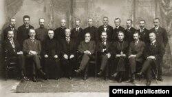 ლიტვის ტარიბა 1918 წლის 16 თებერვალს, შუაში - იონას ბასანავიჩიუსი