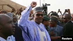 Le président Muhammadu Buhari après avoir voté à Daura, dans l'Etat Katsina, Nigeria, 23 février 2019.