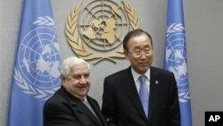 1일 뉴욕에서 열린 유엔 총회에서 면담한 왈리드 무알렘 시리아 외무장관(왼쪽)과 반기문 유엔총장.
