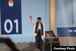 Calon wakil presiden nomor urut 01 Ma'ruf Amin saat menjalani debat di Hotel Sultan, Jakarta pada Minggu (17/3) malam.( Foto: Dokumentasi TKN Jokowi-Ma'ruf)