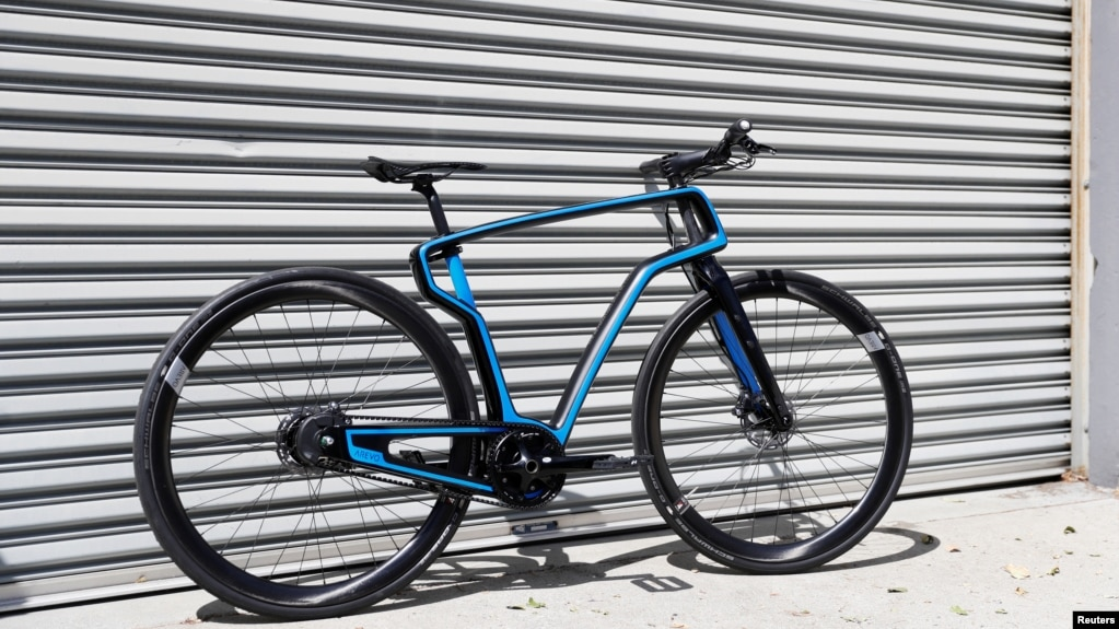 A 3-D-printed carbon fiber commuter bicycle by Arevo Labs is seen in Santa Clara, California, May 10, 2018.