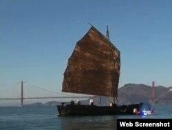 关·归里思号帆船(美国之音网络截图)