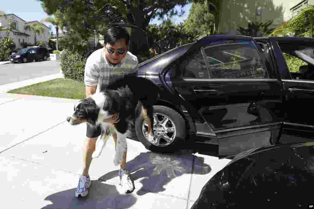 Midi Teng carries the family dog, Pup, out of the car as he arrives home from wildfire evacuations in Carlsbad, California, May 16, 2014.