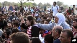 大批難民在馬其頓南部城市等候越過邊界。