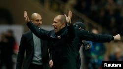 L'entraîneur de Monaco Leonardo Jardim fête la victoire de son équipe face à Manchester, le 15 mars 2017.