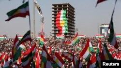 گردهمایی طرفداران همه پرسی استقلال کردستان عراق در اربیل