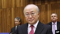 ທ່ານ Yukiya Amano ຈາກຍີ່ປຸ່ນຊຶ່ງເປັນຫົວໜ້າອົງການສິ້ງ ຊອມນີວເຄລຍຂອງສະຫະປະຊາຊາດ ທີ່ກອງປະຊຸມ ສະພາ ອໍານວຍການ IAEA ທີ່ກຸງວຽນນາ ອອສເຕຣຍ.Austria, ວັນທີ 17 ພະຈິກ, 2011.