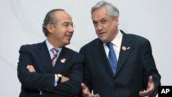 Los expresidentes de Chile, Sebastián Piñera, derecha y el de México, Felipe Calderón son algunos de los exmandatarios que se unen por la democracia en Venezuela.