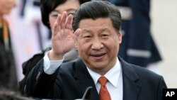 2014年7月3日中国国家主席习近平抵达首尔军用机场
