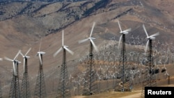 A section of the Tehachapi Pass Wind Farm is pictured in Tehachapi, California, June 19, 2013.