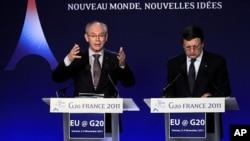 Le président du Conseil de l'Europe Herman Van Rompuy (à gauche) et le président ed la Commission européenne Manuel Barroso (à droite) à Cannes, le 9 juillet 2012.