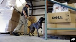 A worker and dog go through training last year for the U.S. Transportation Security Agency. In the last year, the TSA filled thousands of jobs to keep security waits manageable at Americanairports.