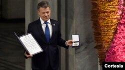 Hay una guerra menos en el mundo y es la de Colombia, expresó el Presidente Santos al recibir el Premio Nobel de paz 2016.