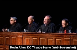 In 2010, Judge Merrick B. Garland (far left) sits on a mock trial at the Shakespeare Theatre Company in Washington, D.C. with Judge David S. Tatel, Justice Samuel Alito and Justice Ruth Bader Ginsburg. (Photo: Kevin Allen)