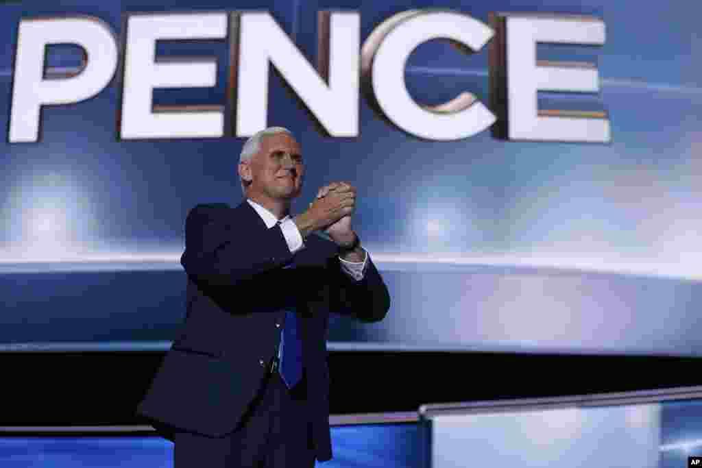 Le vice-président républicain Mike Spencedans le cadre de la troisième soirée de la convention républicaine à Cleveland, le 20 juillet 2016.