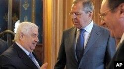 شامی وزیرِ خارجہ ولید المعلم اپنے روسی ہم منصب سرجئی لاوروف کے ہمراہ
