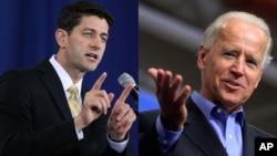 Phó Tổng thống Mỹ Joe Biden (phải) và ứng cử viên Phó Tổng thống của đảng Cộng hòa Paul Ryan