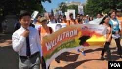 지난 2017년 7월 미국의 한인 2세 학생들이 워싱턴에서 북한인권 개선을 촉구하는 집회를 열었다.