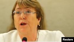 La Alta Comisionada de DD.HH. de la ONU Michelle Bachelet asiste al Consejo de DD.HH. de Naciones Unidas en Ginebra, Suiza, el lunes, 10 de septiembre de 2018.