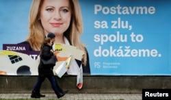 Prezidentliyə namizəd Zuzana Kaputovanın kampaniya plakatı.