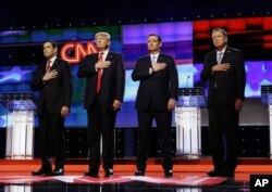 Republican presidential candidates, Senator Marco Rubio, from left, Donald Trump, Senator Ted Cruz, and Ohio Governor John Kasich during a Republican Primary debate in March.