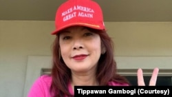 Tippawan Gambogi, a 58-year-old retired Thai woman who supports President Donald Trump's candidacy. She lives in Prescott, Arizona