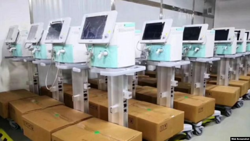 Beijing Aeonmed ventilators. Photo: Beijing Aeonmed via Bloomberg.