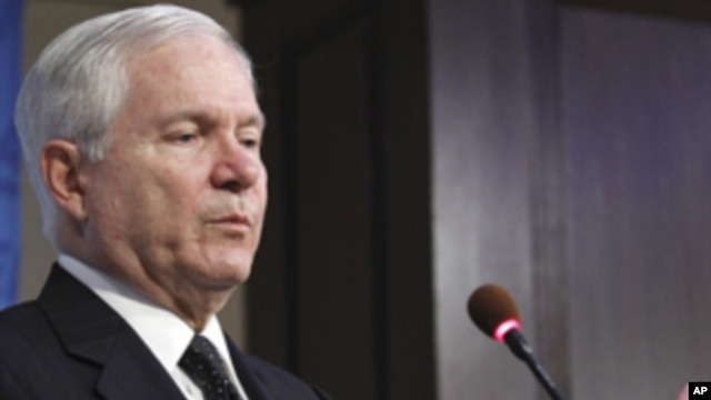 Defense Secretary Robert Gates speaking at the American Enterprise Institute for Public Policy Research in Washington, Tuesday, May 24, 2011.