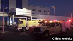 24일 새벽 화재가 발생한 사우디아라비아 자잔의 병원에 소방차들이 출동했다.