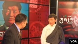 Lobsang Sangay (right) on VOA's Kunleng