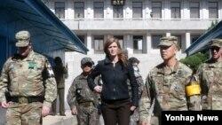 薩曼莎鮑爾大使10月9日訪問了南韓與北韓之間的非軍事區。