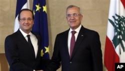 Fransa Cumhurbaşkanı Francoise Hollande Lübnan Cumhurbaşkanı Mişel Süleyman ile..