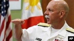 U.S. Pacific Fleet Commander Adm. Scott Swift gestures during an interview with journalists July 17, 2015 in Manila, Philippines.