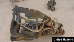 유엔 에멘제재위원회가 최근 보고서에서 공개한 예멘 후티반군의 단거리탄도미사일 탄두부. 위원회는 이 미사일이 북한 '화성-6' 미사일의 개량형일 가능성이 높다고 지적했다.