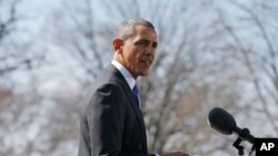 Predsednik Obama govori o Ukrajini u ružičnjaku Bele kuće, 20. marta 2014.