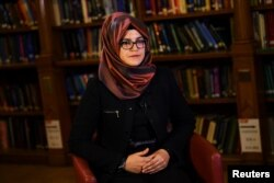 Hatice Cengiz, fiancee of slain Saudi journalist Jamal Khashoggi, is seen during an interview with Reuters in London, Britain, Oct. 29, 2018.
