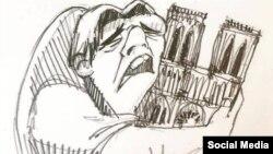 کاریکاتور «کریستینا کوریا فریل» از «کازیمودو» کاراکتر داستان «گوژپشت نوتردام» در حالی که ساختمان کلیسا را در آغوش گرفته است