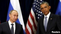 U.S. President Barack Obama and Russian President Vladimir Putin meet at the United Nations General Assembly in New York, Sept. 28, 2015.