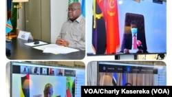 Président Félix Tshisekedi na likita na bakokani ba ye Paul Kagame ya Rwanda, Yoweri Museveni ya Ouganda mpe Joao Lourenço na likita na visio conférence, Goma, 7 octobre 2020. (VOA/Charly Kasereka)