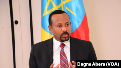 Ethiopian Prime Minister Abiy Ahmed discusses his first year in office, May 27, 2019, in Addis Ababa, Ethiopia