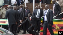 Presiden Zimbabwe Robert Mugabe tampah terjatuh saat menuruni tangga podium di Harare, Rabu (4/2).