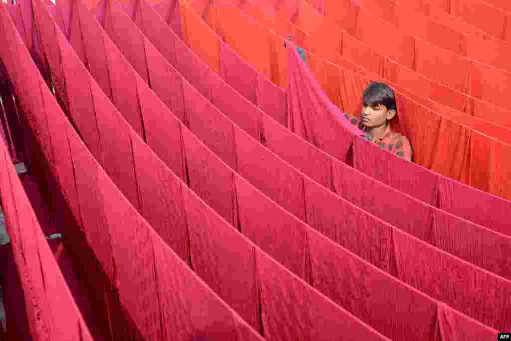 An artisan dries stoles after dyeing in Amritsar, India.