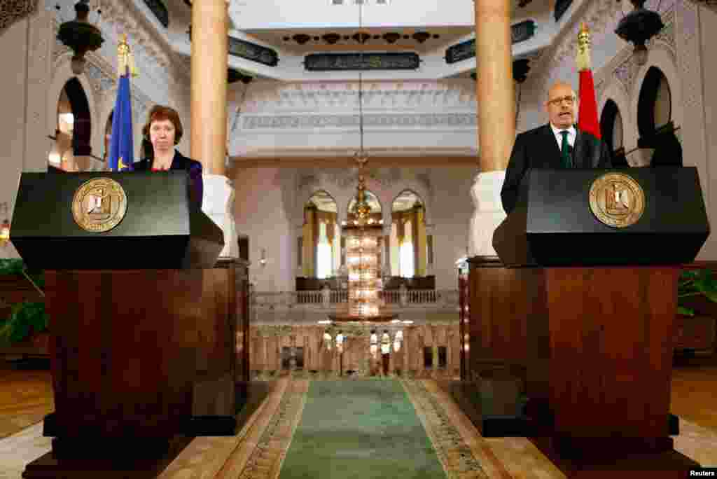 Egypt's interim Vice President Mohamed ElBaradei speaks at a news conference with EU foreign policy chief Catherine Ashton at El-Thadiya presidential palace in Cairo July 30, 2013.
