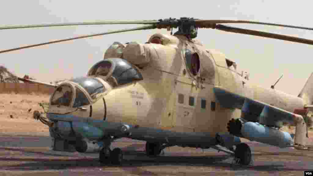 A Chadian combat helicopter at Zinder Airport