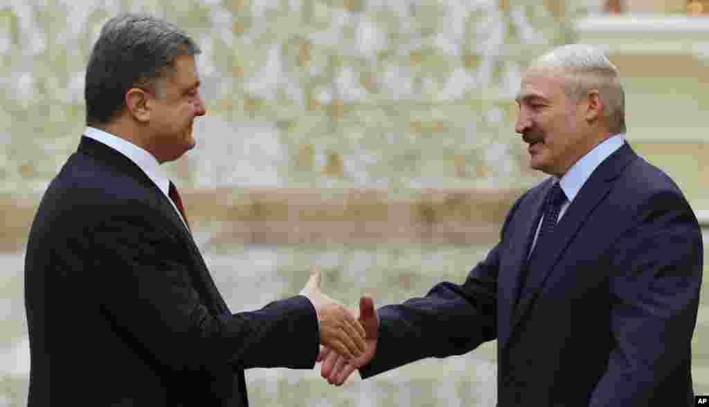 Tổng thống Belarus Alexander Lukashenko (phải) bắt tay Tổng thống Ukraine Petro Poroshenko tại Minsk, ngày 11/2/2015.