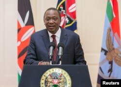 Kenya's President Uhuru Kenyatta addresses the Nation at State House in Nairobi, Kenya, Aug. 7, 2017.