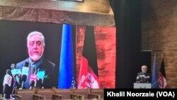 عبدالله عبدالله د هرات نهم امنیتي کنفرانس کې د وینا پرمهال.